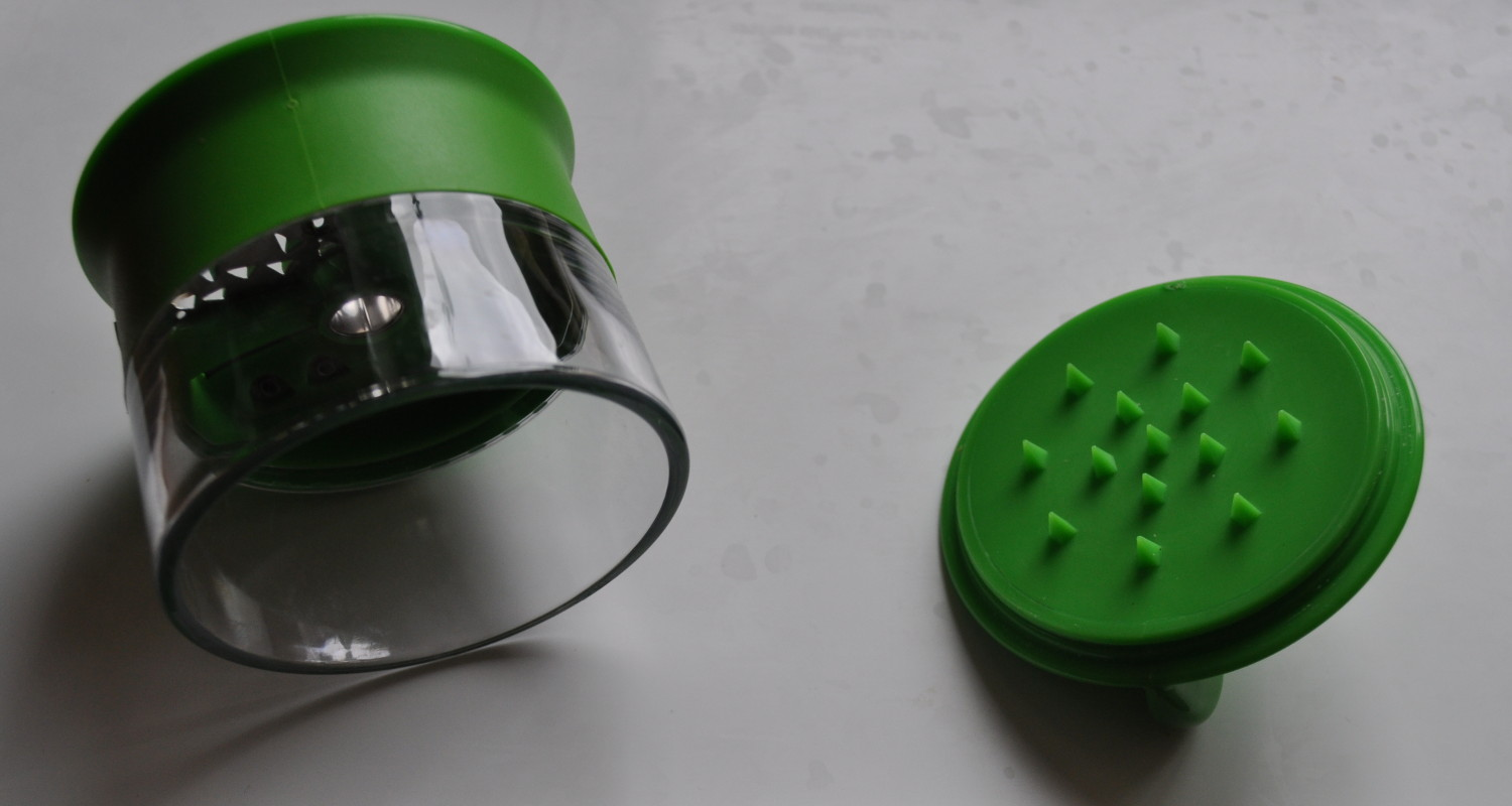 Close-up of the OXO handheld Spiralizer, before it went to work on the courgettes, carrots and beetroot